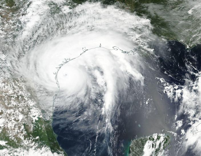 <p>A handout photo made available by NASA shows an image acquired by the Visible Infrared Imaging Radiometer Suite (VIIRS) on board the joint NASA/NOAA Suomi National Polar-orbiting Partnership (NPP) satellite of Hurricane Harvey off the coast of Texas, USA, 25 August 2017. Hurricane Harvey has strengthened to category 4 storm. (Photo: NASA/SUOMI NPP VIIRS ) </p>