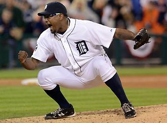 Tigers closer Jose Valverde picked up a save in Game 3. After Detroit's Game 2 victory Valverde had declared the series would be over in four games