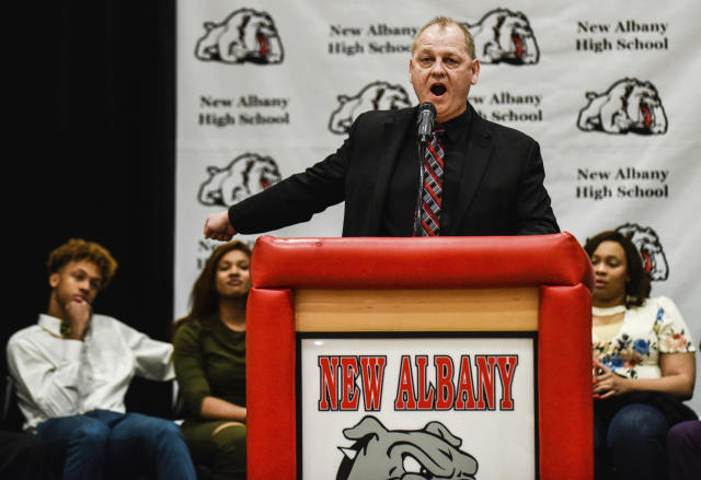 New Albany coach Jim Shannon announced the jersey retirement of Romeo Langford during his commitment ceremony on Monday. (AP)