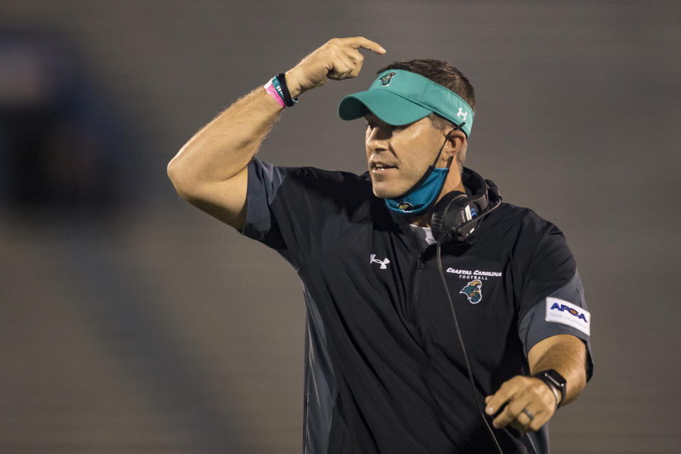 LAWRENCE, KS - SEPTEMBER 12: Head coach Jamey Chadwell of the Coastal Carolina Chanticleers reacts during the game against the Kansas Jayhawks at Memorial Stadium on September 12, 2020 in Lawrence, Kansas. (Photo by Brian Davidson/Getty Images)