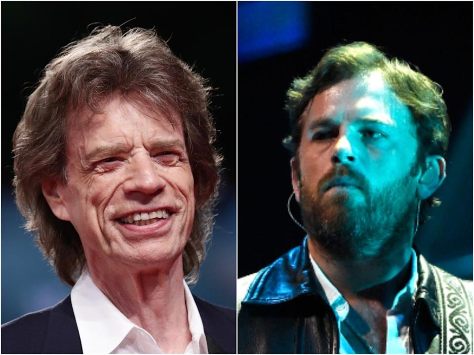 Mick Jagger (left) and Kings of Leon singer Caleb Followill (right) (Getty)