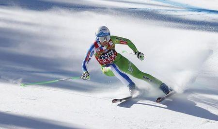 Mar 15, 2017; Aspen, CO, USA; Ilka Stuhec of Slovenia during the women's downhill alpine skiing race in the 2017 Audi FIS World Cup Finals at Aspen Mountain. Mandatory Credit: Jeff Swinger-USA TODAY Sports