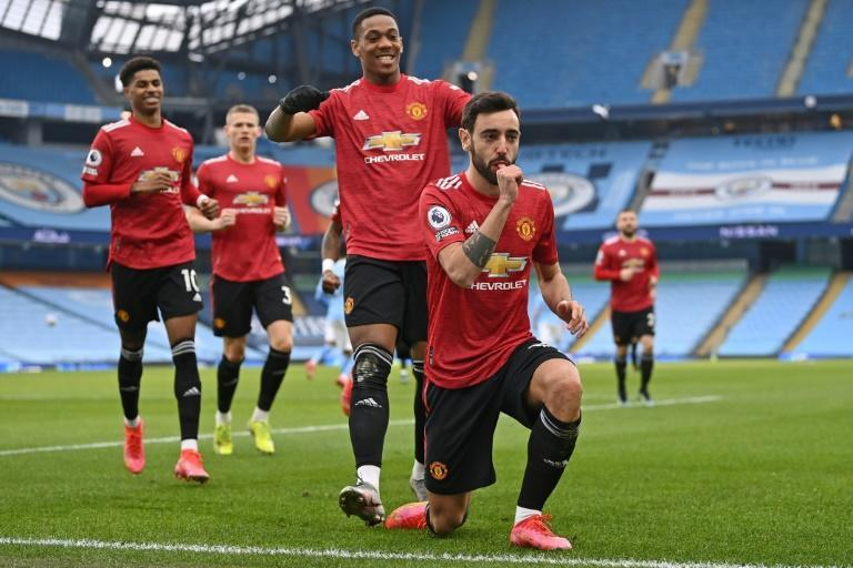 Manchester United's Bruno Fernandes opened the scoring at Manchester City