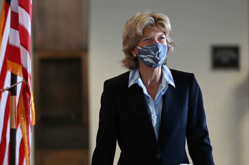 FILE PHOTO: Senator Murkowski departs a luncheon on Capitol Hill in Washington