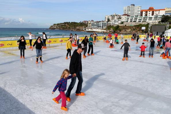 A general view of the Bondi Beach Ice Rink on July 10, 2012 in Sydney, Australia. One of the most popular attractions of the annual winter festival, the beach ice rink opened to the public last week complete with ice skat