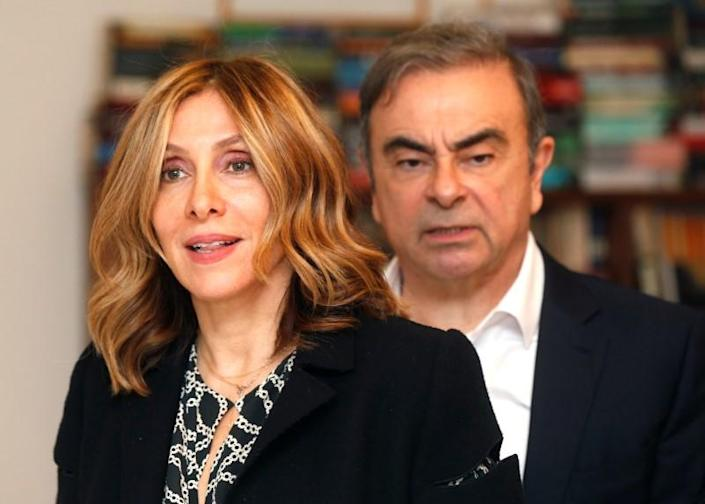 Former Nissan chairman Carlos Ghosn and his wife Carole Ghosn arrive for a Reuters interview in Beirut