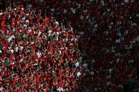 Soccer Football - World Cup - Group B - Portugal vs Morocco - Luzhniki Stadium, Moscow, Russia - June 20, 2018 Morocco fans REUTERS/Carl Recine