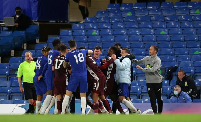 Familiarity breeds contempt: A fight involving players, substitutes and coaches from Chelsea and Leicester broke out in stoppage time