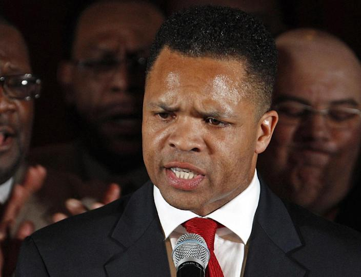 FILE - In this March 20, 2012, file photo taken in Chicago, then-Rep. Jesse Jackson Jr., D-Ill. speaks at a Democratic primary election night party. The former and his wife Sandra were charged Feb. 15, 2013, with spending $750,000 in campaign funds on personal expenses. (AP Photo/M. Spencer Green, File)