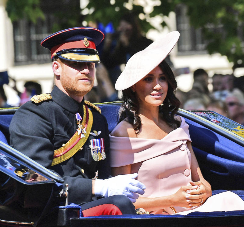 "January 20th 2020 - Buckingham Palace has announced that Prince Harry and Duchess Meghan will no longer use ""royal highness"" titles and will not receive public money for their royal duties. Additionally, as part of the terms of surrendering their royal responsibilities, Harry and Meghan will repay the $3.1 million cost of taxpayers' money that was spent renovating Frogmore Cottage - their home near Windsor Castle. - January 9th 2020 - Prince Harry The Duke of Sussex and Duchess Meghan of Sussex intend to step back their duties and responsibilities as senior members of the British Royal Family. - File Photo by: zz/KGC-160/STAR MAX/IPx 2018 6/9/18 Prince Harry The Duke of Sussex, The Duchess of Sussex and members of The Royal Family at the Trooping The Colour ceremonies as The Queen marks her official birthday - including an inspection of the troops from the Household Division, the Horseguards Parade March in Whitehall and watching a fly-past from the balcony at Buckingham Palace. (London, England, UK)"