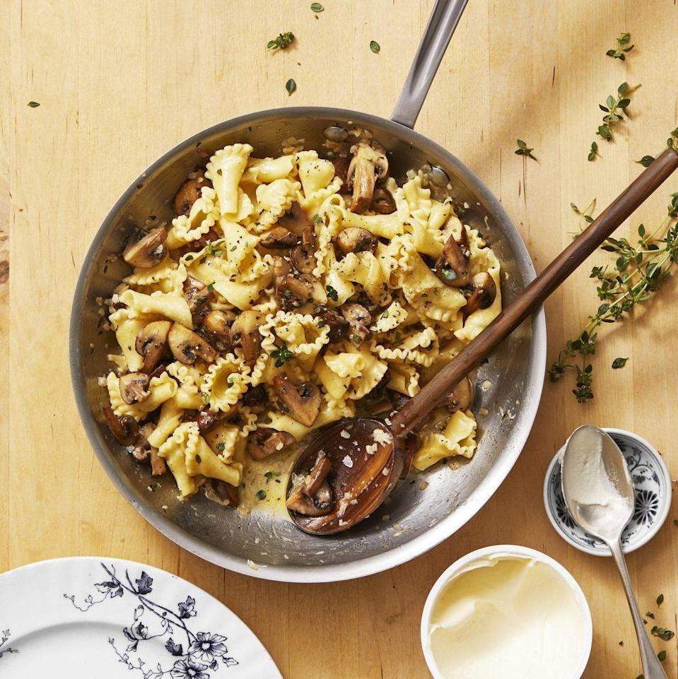 """<p>The ruffled pasta shape turns this super-easy recipe into something special.</p><p><em><a href=""""https://www.goodhousekeeping.com/food-recipes/a30469983/campanelle-pasta-with-mushrooms-recipe/"""" rel=""""nofollow noopener"""" target=""""_blank"""" data-ylk=""""slk:Get the recipe for Mushroom and Thyme Campanelle »"""" class=""""link rapid-noclick-resp"""">Get the recipe for Mushroom and Thyme Campanelle »</a></em></p>"""