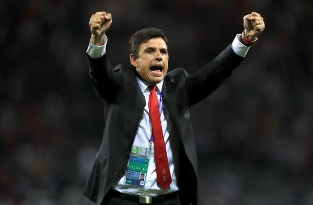 Manager Chris Coleman celebrates after Wales' 3-0 victory over Russia at Euro 2016 (Mike Egerton/PA)