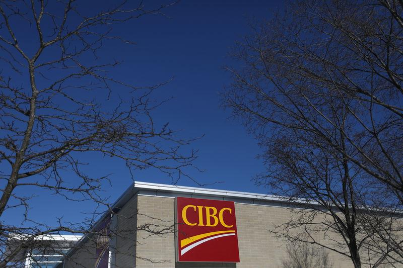The CIBC logo is seen outside of a branch in Ottawa