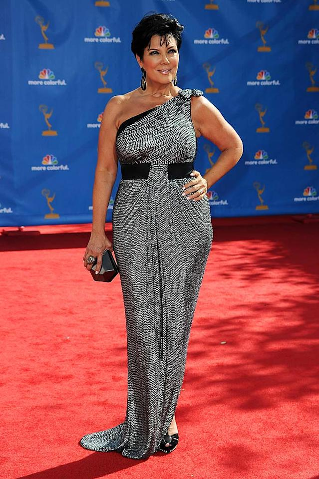 Kris Jenner<br> Grade: C<br><br> Sadly, Kim's mom picked a dress that wasn't quite as figure flattering. The cinched waist created an unfortunate pear-shaped silhouette for the typically svelte reality matriarch.