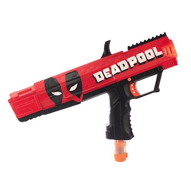 <p>Put your money where the merc with a mouth is. This Deadpool-branded Nerf gun is blasting its way into toy stores timed to the much-anticipated sequel. (Photo: Hasbro) </p>