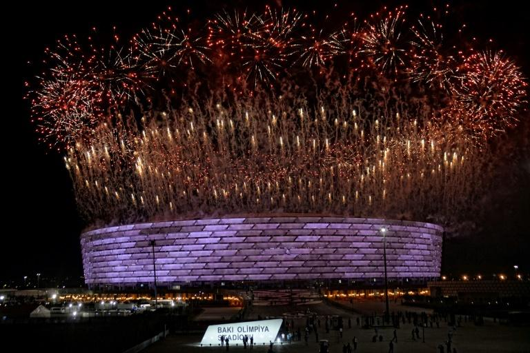 Fireworks erupt during the opening ceremony of the 2015 European Games in Baku
