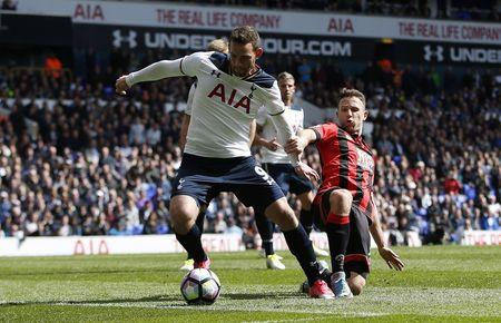 Britain Soccer Football - Tottenham Hotspur v AFC Bournemouth - Premier League - White Hart Lane - 15/4/17 Tottenham's Vincent Janssen scores their fourth goal  Action Images via Reuters / Paul Childs Livepic