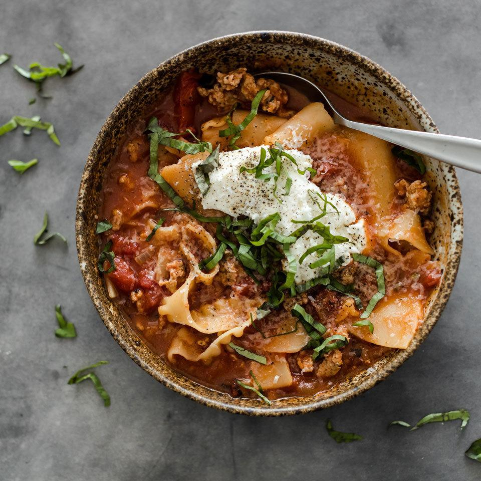 <p>This satisfying and hearty soup has all the flavors of lasagna, but without the fuss of layering ingredients in a baking dish and waiting for the lasagna to bake. Here, we take advantage of the multicooker to prepare a soup that is ready in 10 minutes. Just top the soup with ricotta and Parmesan and enjoy!</p>
