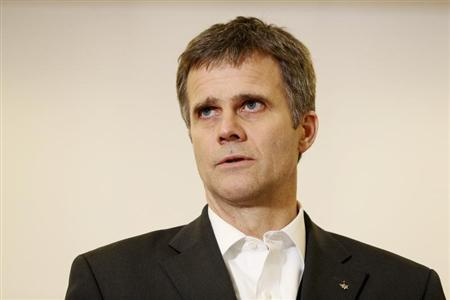 Statoil's CEO Lund holds a news conference at the center for relatives of the hostages in Algeria, in Bergen