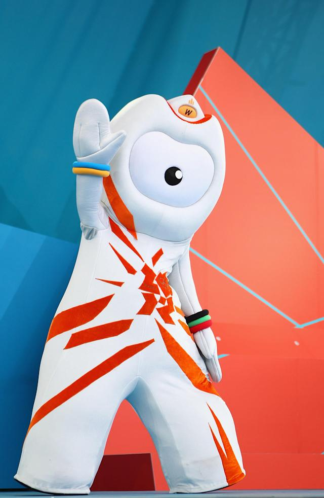LONDON, ENGLAND - JULY 27: Wenlock, London 2012 Olympic Game mascot waves during the' London 2012 - One Year To Go' ceremony in Trafalgar Square on July 27, 2011 in London, England. The one year countdown to the London 2012 Olympic games was marked with a unique ceremony in Trafalgar Square, with IOC President Jacques Rogge inviting the world's athletes to compete in next summer's games. (Photo by Clive Mason/Getty Images)