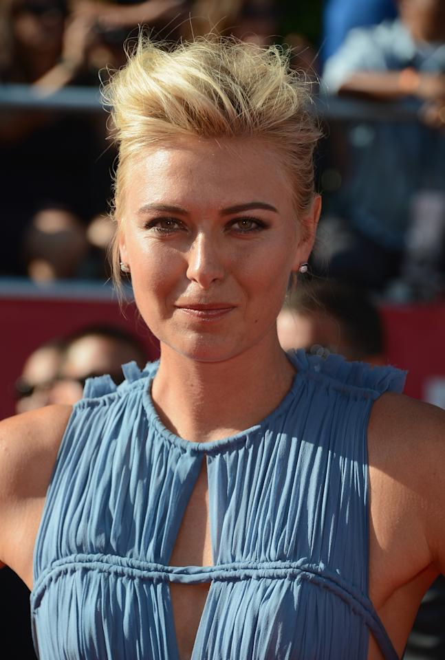 LOS ANGELES, CA - JULY 11:  Tennis player Maria Sharapova arrives at the 2012 ESPY Awards at Nokia Theatre L.A. Live on July 11, 2012 in Los Angeles, California.  (Photo by Frazer Harrison/Getty Images)