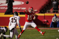 Kansas City Chiefs quarterback Patrick Mahomes throws a pass during the first half of an NFL football game against the Atlanta Falcons, Sunday, Dec. 27, 2020, in Kansas City. (AP Photo/Jeff Roberson)
