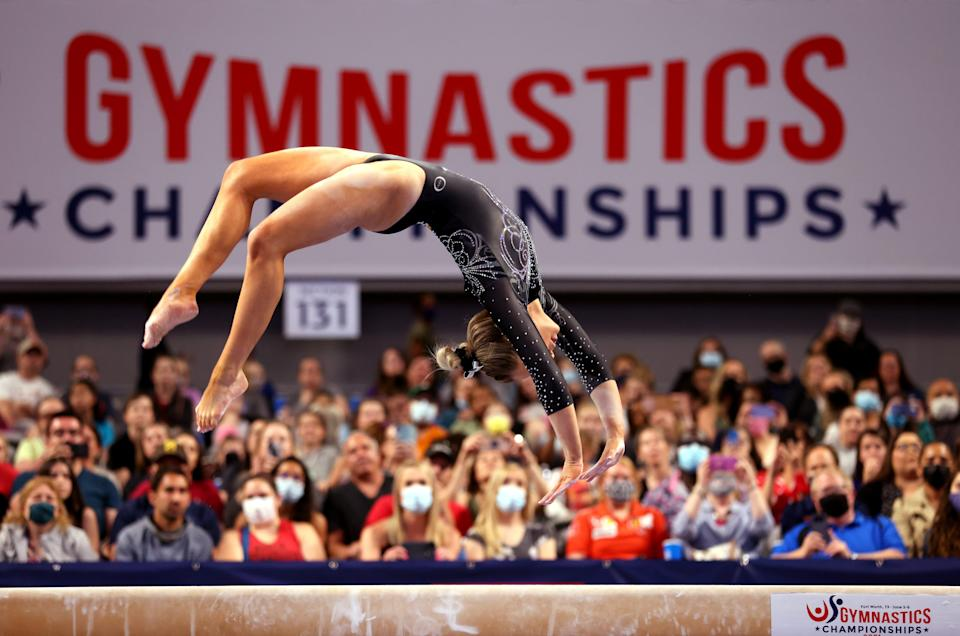 MyKayla Skinner competes on the beam during the Senior Women's competition of the 2021 U.S. Gymnastics Championships at Dickies Arena on June 4, 2021, in Fort Worth, Texas.