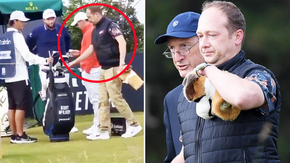 The spectator, pictured here taking one of Rory McIlroy's clubs.