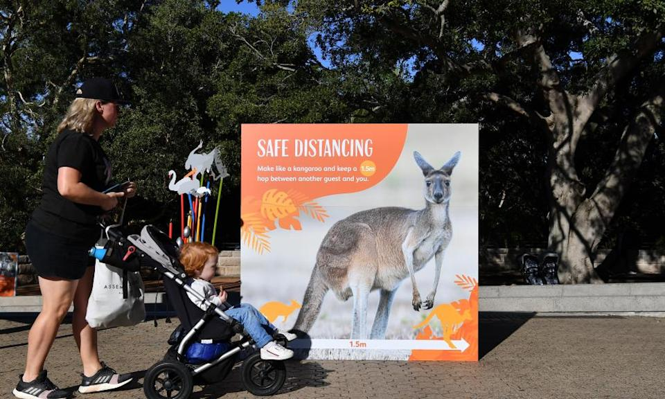 A family at Taronga Zoo after the end of Sydney's lockdown