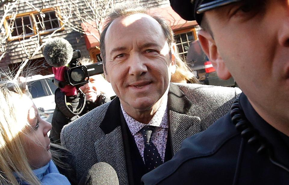 Kevin Spacey arrives at courthouse on Nantucket Island, Mass., on Jan. 7, 2019, to be arraigned on a charge of indecent assault and battery.