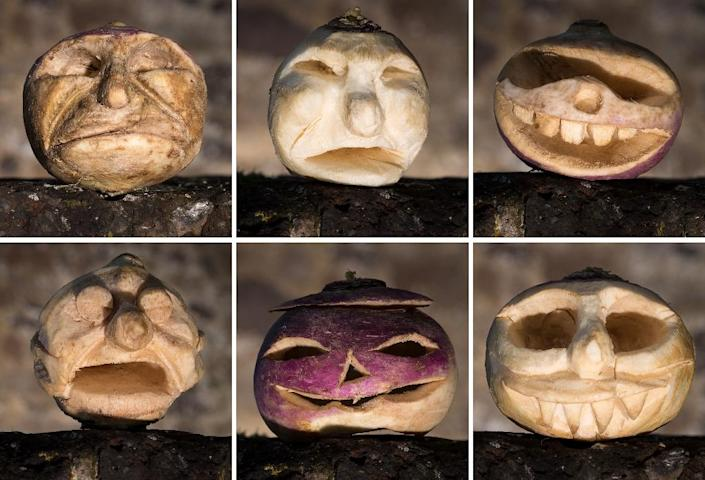 A combination of pictures released by charity English Heritage on October 26, 2015 shows carved turnip faces at Dover Castle, southern England, on October 20, 2015 (AFP Photo/Christopher Ison)
