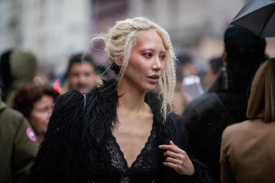 Model Soo Joo Park with hair style is seen outside Jean Paul Gaultier during Paris Fashion Week – Haute Couture Spring Summer 2019 on January 23, 2019 in Paris, France. (Photo by Christian Vierig/Getty Images)