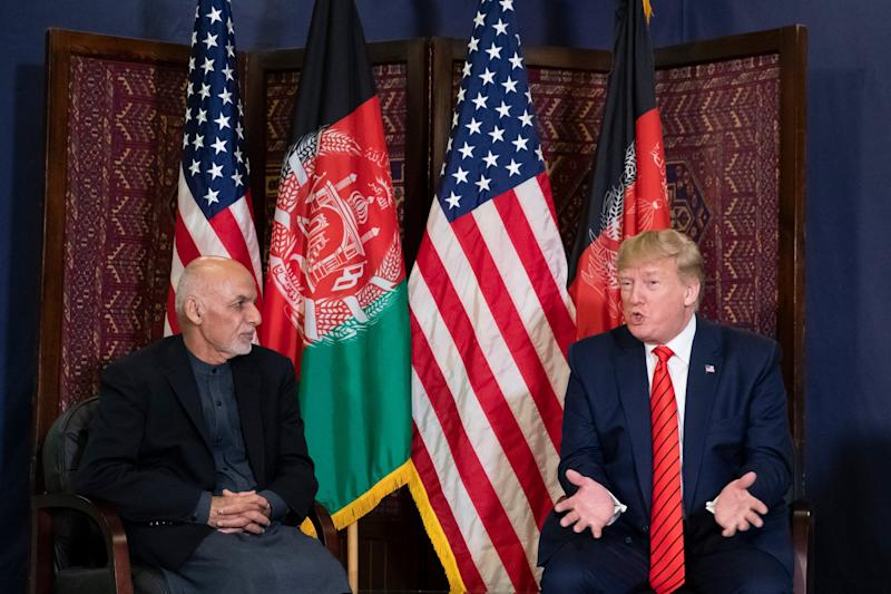Afghan president Ashraf Ghani and his US counterpart Donald Trump hold talks at Bagram airbase during a surprise Thanksgiving visit to Afghanistan by the American leader: AP