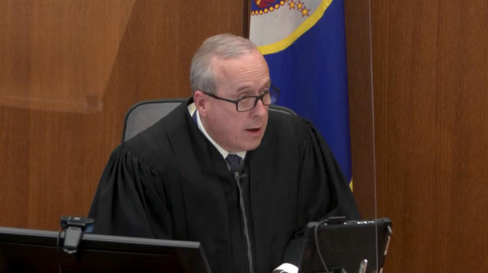 Judge Peter Cahill addresses the jury during the Derek Chauvin trial on April 19, 2021. (Court TV via Reuters Video)