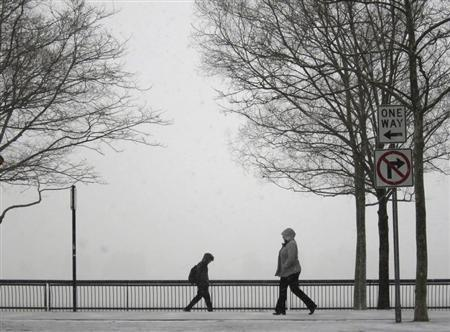 People walk in a park along the Hudson River across from New York as snow begins to fall in Hoboken, New Jersey January 21, 2014. REUTERS/Gary Hershorn