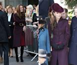 <p>Rumored to have designed this sleek eggplant topper herself, Middleton has worn it to visit Newcastle in November 2012 and to Christmas Day services in Sandringham in 2011. </p>
