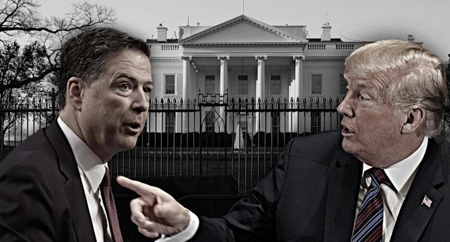 Comey and Trump. (Photo illustration: Yahoo News; Jim Bourg/Reuters, Evan Vucci/AP, Carolyn Kaster/AP)