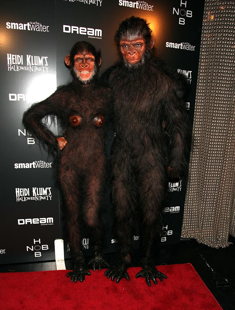 Heidi Klum and Seal dressed as apes from The Planet of the Apes attend Heidi Klum's 12th annual Halloween party at the PH-D Rooftop Lounge at Dream Downtown on October 31, 2011 in New York City. Photo courtesy of Getty Images.