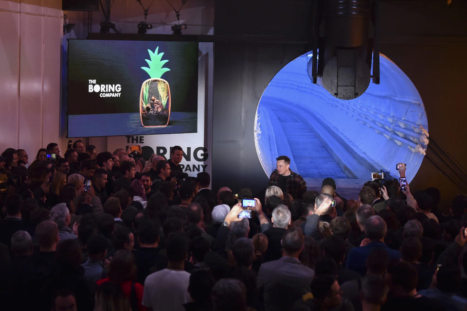 Elon Musk at the unveiling.