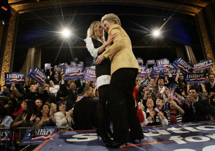 <p>Democratic presidential hopeful Sen. Hillary Rodham Clinton hugs her daughter, Chelsea, at her Super Tuesday primary night rally in New York on Feb. 5, 2008. (Photo: Elise Amendola/AP)</p>