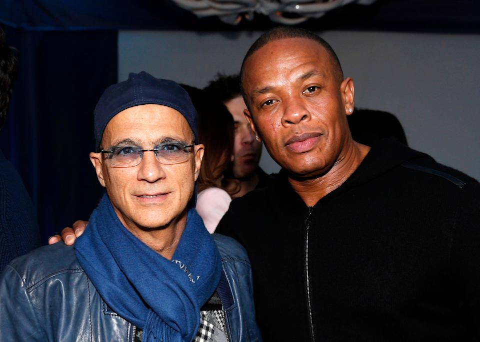 Jimmy Iovine and Dr. Dre attend a Grammy Party in Los Angeles Feb. 10, 2013