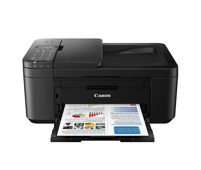 """<strong>Pages Per Minute: </strong>This printer can handle 8.8 pages per minute when printing in black and 4.4 pages per minute when printing in color. <br><strong>Monochrome Vs. Color: </strong>It can do both! <br><strong>Cartridge Details: </strong>This printer's compatible with the Canon PG-243 cartridge for black ink and Canon CL 244 cartridge for color. <br><strong> What Else Can This Printer Do: </strong>Functions include copying, scanning and faxing. <br><strong> $$$: </strong><a href=""""https://fave.co/2Dj9KTL"""" rel=""""nofollow noopener"""" target=""""_blank"""" data-ylk=""""slk:Find it for $60 at Staples"""" class=""""link rapid-noclick-resp"""">Find it for $60 at Staples</a>."""