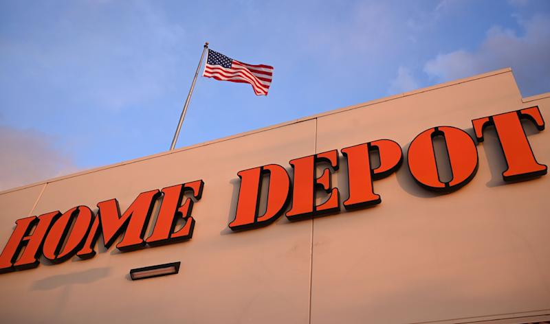 Pictured is the facade of a Home Depot which is a hardware store chain in the US.