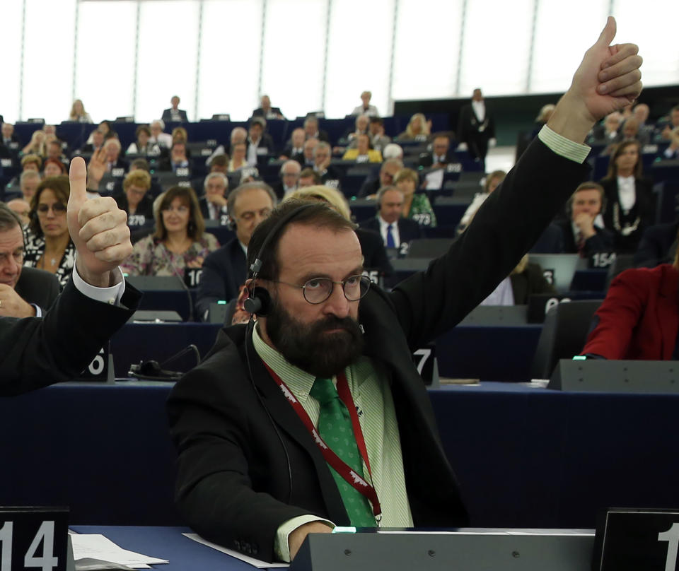 European lawmaker Jozsef Szajer of Hungary votes during a session at the European Parliament in Strasbourg