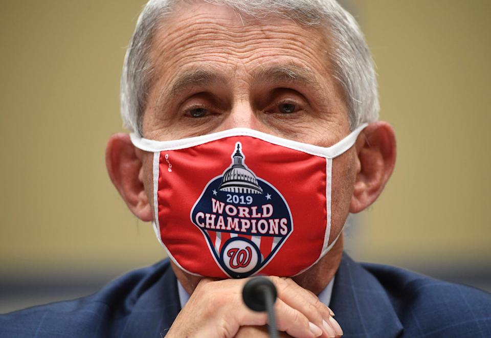 Dr. Anthony Fauci, director of the National Institute for Allergy and Infectious Diseases, listens during a House Subcommittee on the Coronavirus crisis hearing, Friday, July 31, 2020 on Capitol Hill in Washington.  (Kevin Dietsch/Pool via AP) (Photo: ASSOCIATED PRESS)