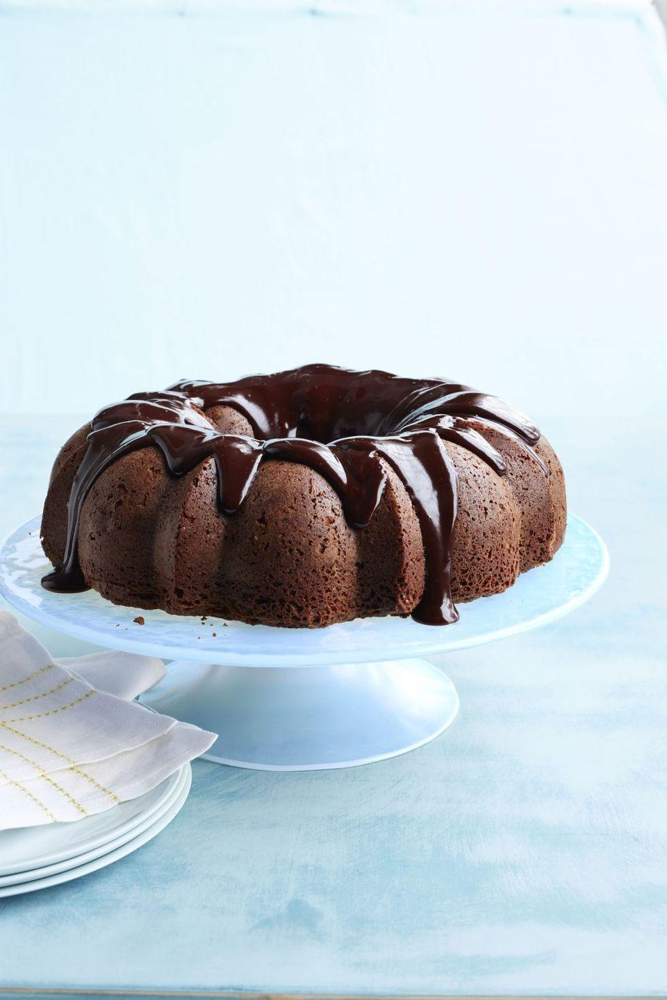 """<p>If Dad loves chocolate, this is the cake for him. Rolled oats and semisweet chocolate come together to a create a tender and delicious cake that's also gluten-free.</p><p><strong><em><a href=""""https://www.womansday.com/food-recipes/food-drinks/recipes/a50262/oatmeal-brownie-bundt-cake-recipe-wdy0515/"""" rel=""""nofollow noopener"""" target=""""_blank"""" data-ylk=""""slk:Get the Oatmeal-Brownie Bundt Cake recipe."""" class=""""link rapid-noclick-resp"""">Get the Oatmeal-Brownie Bundt Cake recipe. </a></em></strong></p>"""