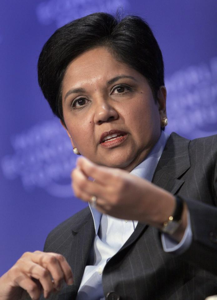 "FILE - In this Jan. 29, 2009 file photo, PepsiCo Chairman and CEO, Indra Nooyi speaks at the World Economic Forum in Davos, Switzerland. It seems Washington is all ears these days. President Barack Obama says he'll take a great idea to fix the economy anywhere he hears it. The Republican leaders in Congress can't say enough how determined they are to ""listen to the American people."""