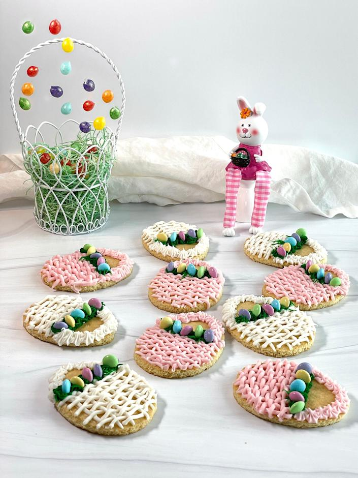 Sugar cookies are the base for decorated Easter Basket Cookies.