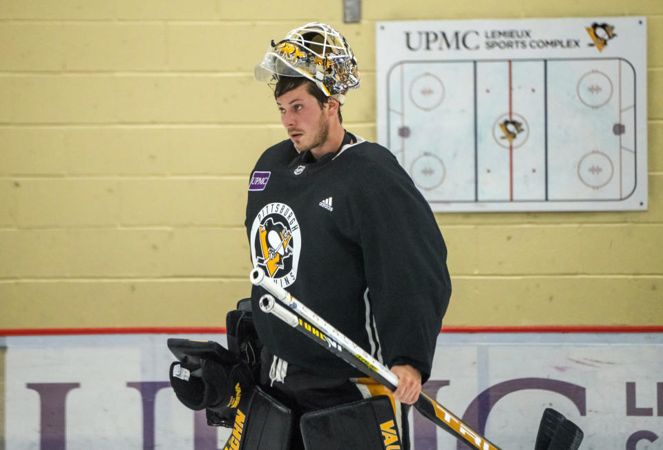Pittsburgh Penguins' Tristan Jarry attends an NHL hockey practice Thursday, Sept. 23, 2021, in Cranberry Township, Pa. (Andrew Rush/Pittsburgh Post-Gazette via AP)