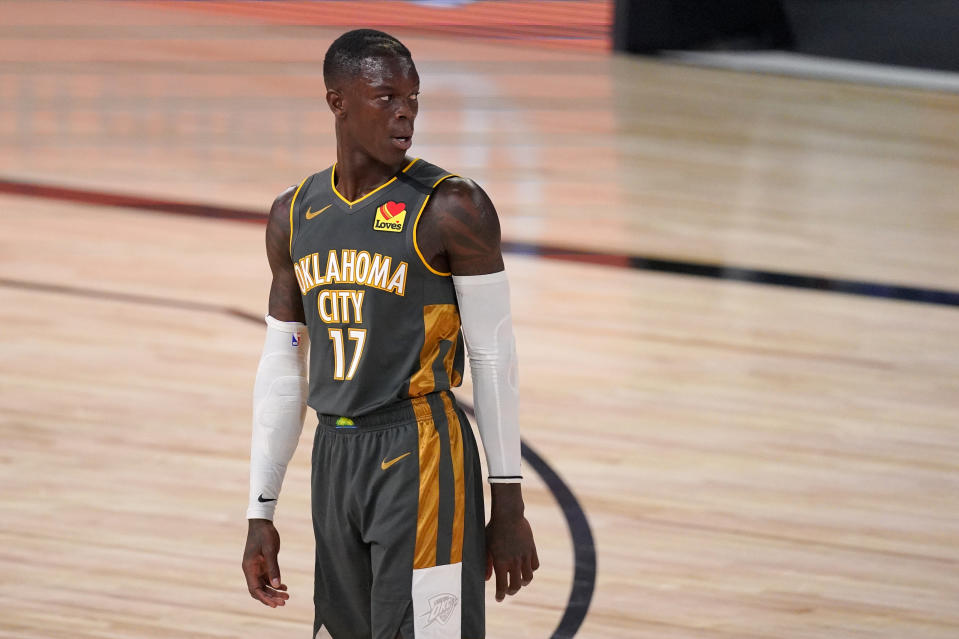 Oklahoma City Thunder's Dennis Schroder (17) looks downcourt during the first half of an NBA first-round playoff basketball game against the Houston Rockets on Monday, Aug. 31, 2020, in Lake Buena Vista, Fla. (AP Photo/Mark J. Terrill)